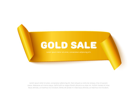 Gold curved paper ribbon banner with paper rolls and inscription GOLD SALE isolated on white background. Realistic vector gold yellow paper ribbon Stock Illustratie