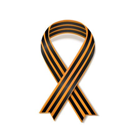 saint george: St George striped black and orange ribbon isolated on white. Vector symbol ribbon of great patriotic war Victory day. Saint George ribbon loop. Victory day concept.