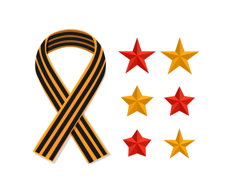 george: St George striped black and orange ribbon and stars isolated on white. Vector symbol ribbon of great patriotic war Victory day. Saint George ribbon loop. Victory day concept.