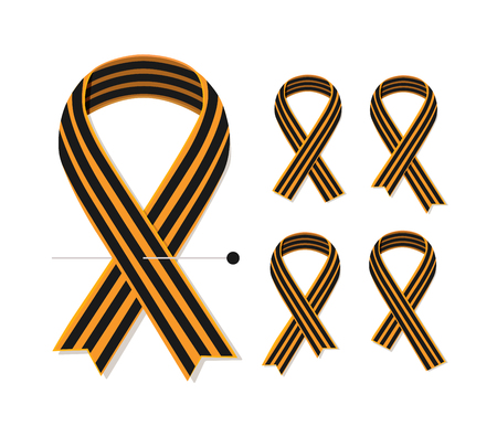 saint george: Set of various St George striped black and orange ribbons isolated on white. Vector symbol ribbons of great patriotic war Victory day. Saint George ribbon loop. Victory day illusatration Illustration