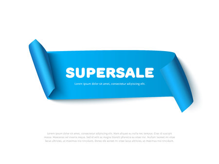 paper rolls: Blue curved paper ribbon banner with paper rolls and text SUPERSALE isolated on white background. Realistic vector paper template for promo and sale advertising.