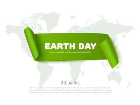 world earth day: World Earth day concept with green curved paper ribbon banner, world map and space for text, realistic vector eco background. Paper ribbon web banner. Conceptual illustration for earth day