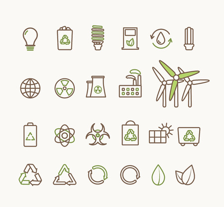 biodiesel plant: Thin line vector ecological icons set. Icons for environmental, recycling, renewable energy, nature. Ecological icons collection isolated, eco icons Illustration