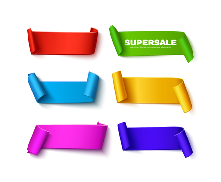 Set of six colorful curved paper ribbon banners with paper rolls and space for text isolated on white background. Realistic vector paper template, mock up. Colorful paper ribbons