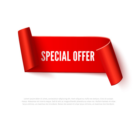 paper rolls: Red curved paper ribbon banner with paper rolls and inscription Special Offer isolated on white background. Realistic vector paper template for special promo and sale advertising. Curved ribbon on white with space for text