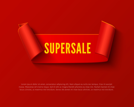 paper rolls: Red curved paper ribbon banner with paper rolls and yellow inscription SUPERSALE isolated on red background. Realistic vector red paper template for special promo and sale advertising. Red curved ribbon on white with space for text