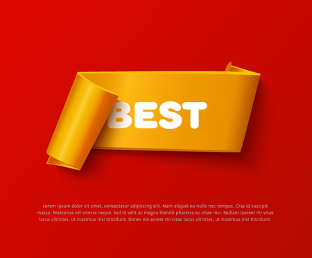 paper rolls: Gold curved paper ribbon banner with paper rolls and inscription BEST isolated on red background. Realistic vector gold yellow paper ribbon with space for message and soft shadow