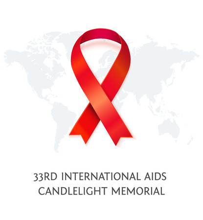 candlelight memorial: AIDS Awareness red vector ribbon, symbol of AIDS memorial day with word map isolated on white. AIDS ribbon. Realistic vector illustration of awareness ribbon for AIDS candlelight memorial day