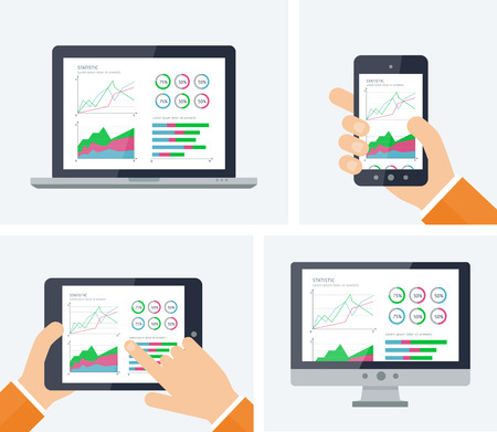 tehnology: Statistics. Flat vector infographic with graphs and charts elements on devices screens. Finance statistics report, business statistics, mobile app ui kit, modern tehnology. Analytics process concept