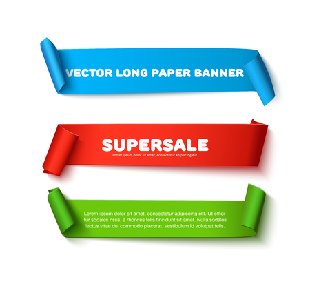paper rolls: Set of colorful horizontal curved paper ribbon banners with paper rolls and space for text isolated on white background. Realistic vector paper template for sale promo and ad. Colorful  ribbons for web banner with shadow Illustration