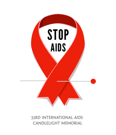 aids awareness ribbon: Flat AIDS Awareness red vector ribbon, symbol of AIDS memorial day isolated on white. AIDS ribbon icon with space for text. Red awareness ribbon Stop AIDS. Illustration