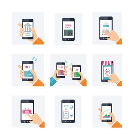 nfc: Flat icons set with mobile technology, online shopping, web wallet, nfc, on-line banking concepts. Smartphones with human hands. Vector infografhic elements for on-line techology concept. Mobile payment, shopping