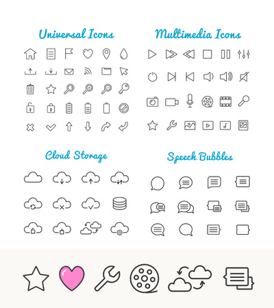 ios: Vector linear thin icons set for web and application interface. Cloud storage, speech bubles, multimedia and universal web icons. App icons set. Universal thin Icons for web and mobile. Web icons set