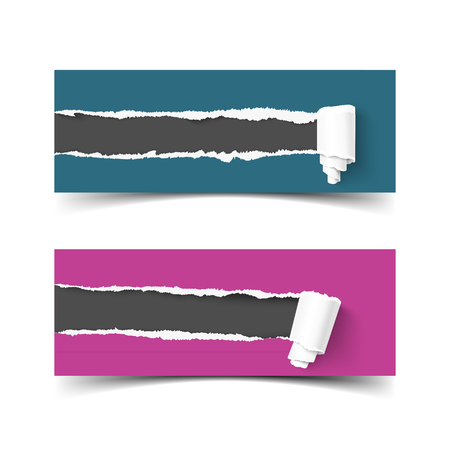 edges: Set of banners torn paper with paper roll and ripped edges. Hole in paper, ripped edges. Torn paper frame for for scrapbooking. Web banner for promotion and advertising. Torn paper with ripped edges and paper rolls