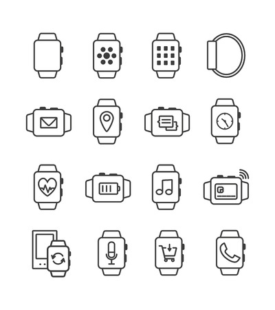 sms payment: Set of outline smart watch icons. Smartwatch symbols. Fitness tracker, mobile payment, sinchronization. Smart watch pictogram, smartwatch icons set
