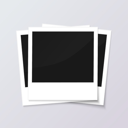 space for images: Stack of blank vintage paper photo frames from instant camera with shadow isolated on gray background for images. realistic illustration of photoframe with space for images and photos.