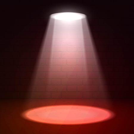 limelight: Stage spotlight on dark background. scene illuminated spotlight. Stage spotlight. Spotlight background vector. Show scene spotlight. Spotlight glow effect scene background. Spotlight on stage.
