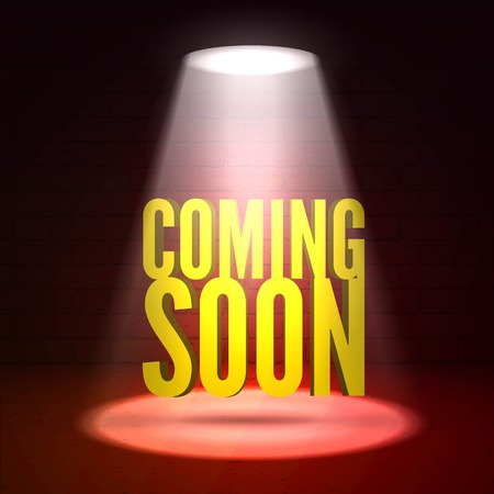 limelight: Coming soon in stage spotlight on dark background. scene illuminated spotlight. Spotlight background . Coming soon on a show scene spotlight. Spotlight glow effect stage background.