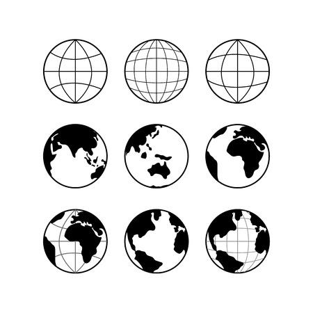 meridiano: Iconos negros globo de la tierra, los signos del globo aislados en blanco. Los viajes y el concepto de la ciencia.