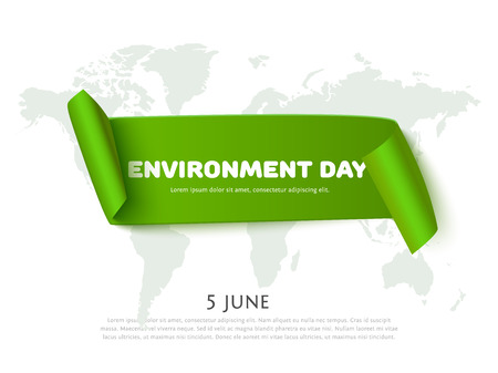 green world: Environment day paper ribbon banner with world map background and space for text. Vector concept design for banner, greeting card, poster for Environment day.