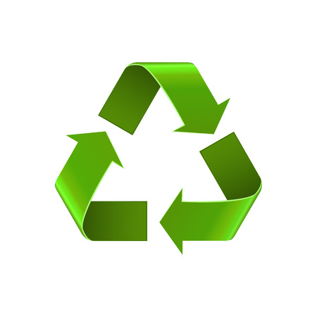 recycle icon: Recycle symbol isolated on white, green arrows sign, vector icon. Realistic Eco recycle icon