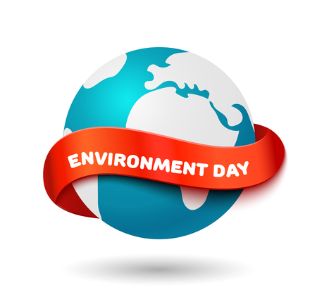 red earth: Environment day concept. Big Earth globe with curve red ribbon and space for text. Realistic vector illustration. World environment day banner