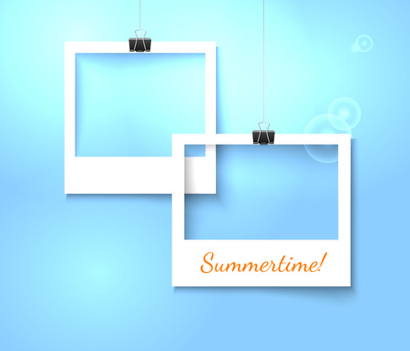 photo paper: Paper photo frames composition. Vector template with photo frames on bright blue background for summer design. Photo frames realistic vector illustration. Art gallary template with photo frame