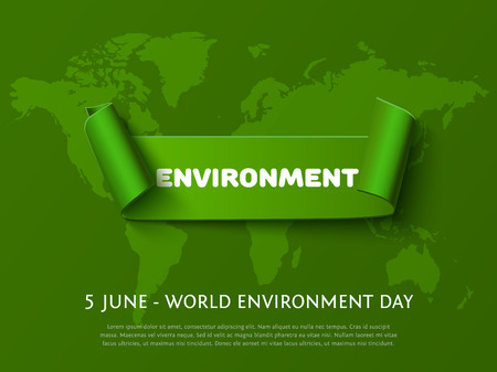 paper curl: Green paper curl ribbon banner with inscription Environment for World Environment Day eco design on dark green background.