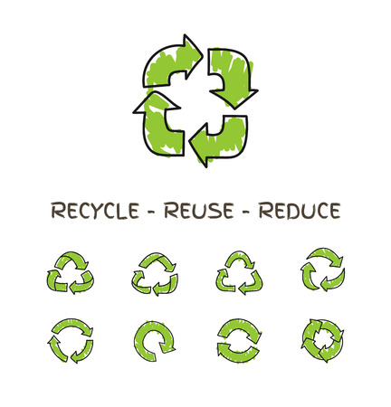 recycle icon: Hand drawn doodle circular arrows, vector recycle icons isolated on white. Different recycle symbols , recycle signs Illustration
