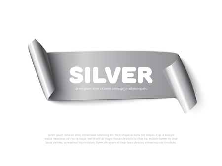 paper rolls: Silver curved paper ribbon banner with paper rolls and inscription Silver isolated on white background. Realistic vector silver paper ribbon for sale promo and ads