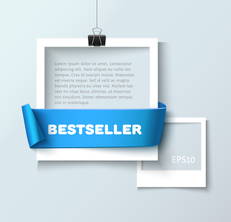 photo paper: Paper photo frames composition. Vector photo frame template with blue ribbon ant text Bestseller for web sites and presentation. Photo frames illustration. Art gallary template with photo frame
