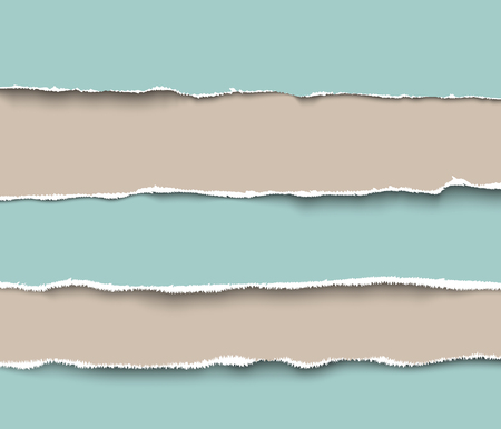 scrap: Set of torn craft paper pieces with rough edges, realistic vector illustration. Torn paper pages pieces collection