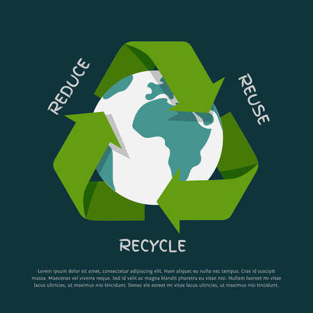 recycle icon: Vector flat Recycling arrows symbol with Earth globe inside isolated on dark background. Recycle icon, environment concept Illustration