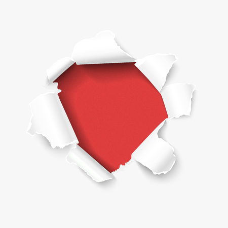 rip off: Hole in white paper with torn sides over red textured paper background and with space fortext. realistic vector torn paper for sale promo, web banners Illustration