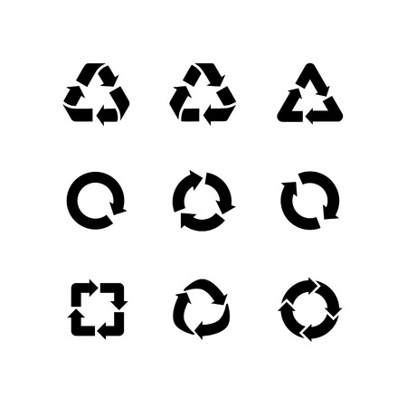 Set of vector signs of recycling, arrow icons isolated on white. Recycle icons, reuse logo, reduce symbol. Ecological symbols of recycle, environment icons collection. Recycle sign Ilustrace