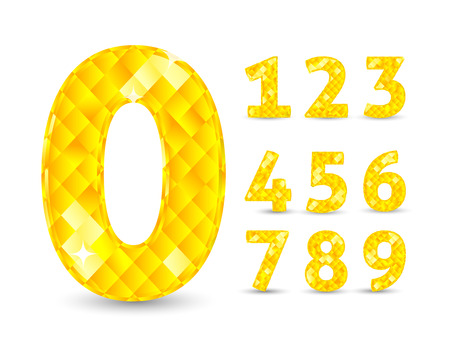 Realistic vector illustration with diamond numbers set. Number set, from 1 to 9. Diamond numbers set Illustration