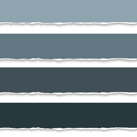 torn paper edges: Collection of torn paper banners for notes, realistic vector illustration. Torn pages with torn edges. Vector paper template Illustration