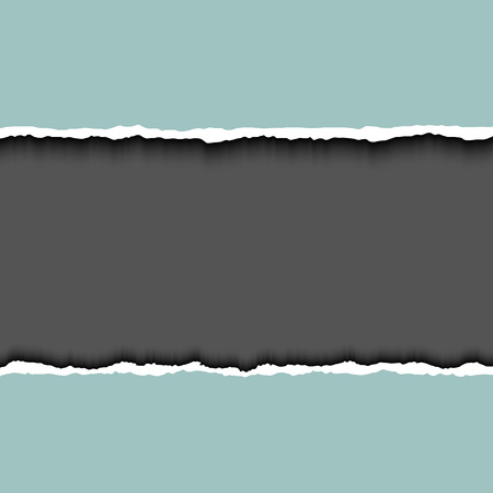 torn edges: Gray ripped page on dark background, relistic illustrator. Frame for text with ripped paper. Torn edges paper Illustration