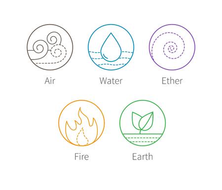 Ayurveda Elemente Wasser, Feuer, Luft, Erde und Äther Icons isoliert auf weiß.