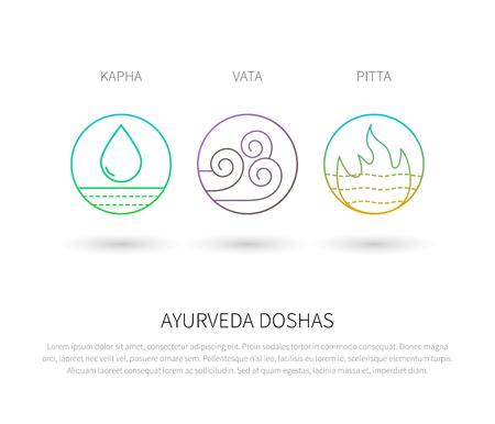 energy healing: Ayurveda doshas thin icons isolated on white. Ayurvedic body types vata dosha, pitta dosha, kapha dosha. Infographic with flat linear icons. Alternative ayurvedic medicine.
