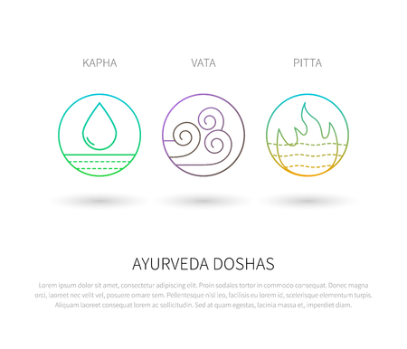 Ayurveda doshas thin icons isolated on white. Ayurvedic body types vata dosha, pitta dosha, kapha dosha. Infographic with flat linear icons. Alternative ayurvedic medicine.