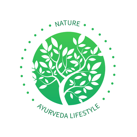 Ayurveda-Baum-Symbol, Symbol alternative Medizin isoliert auf weiß.