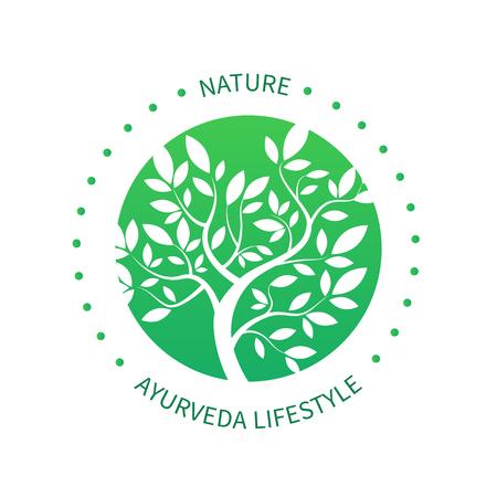 Ayurvedic ikona drzewa, alternatywne ikony medycyna na białym.