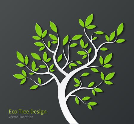 Stilisierter Baum mit Zweigen und grün isoliert auf dunklem Hintergrund Blätter. Ökologisches Konzept. Umwelt bsckground