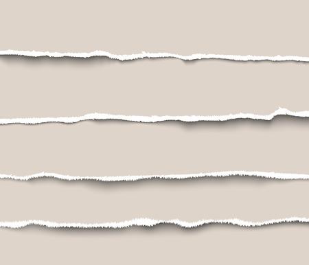 Conjunto de separadores de papel rasgado para sitios web e infografías. Papel rasgado realista con bordes rasgados
