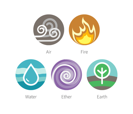 ether: Ayurvedic elements water, fire, air, earth and ether icons isolated on white. Flat colorful vector ayurvedic icons. Elements symbols for ayurvedic infographic and alternative medicine poster.