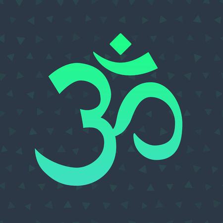 Om Aum Symbol Of The Hindu Religion Green Om Icon On Dark