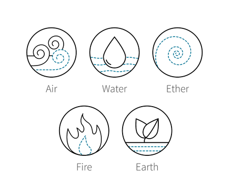 ayurveda: Ayurveda elenemts icons set fire, ether, air, earth and water. Outline thin vector symbols of natural elements Illustration