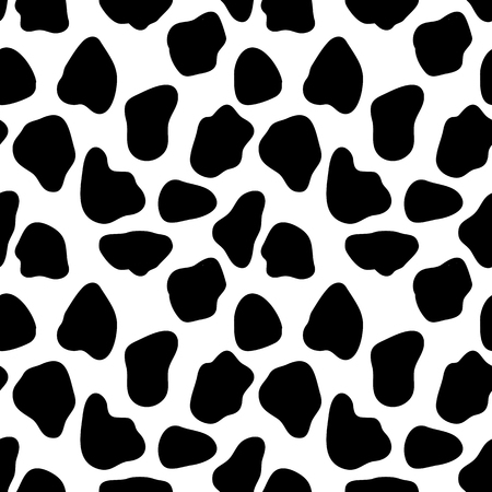 cow skin: Cow seamless pattern, abstract vector background with bkack spots. Vector seamless cow skin pattern. Pattern for milk and farm production Illustration