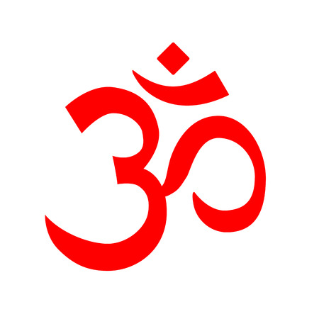 heart chakra red: Red vector Om symbol, aum logo. Symbol of hinduism and buddhism. Simple yoga om icon isolated on white